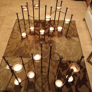 2 candle holding stands